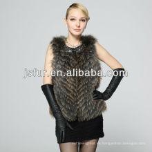 Lujoso chaleco de invierno auténtico natural de piel de mapache mujeres chaleco