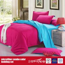 Conjunto de ropa de cama combinada de poliéster cómodo color sólido