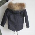 Manteau Kid Down avec fourrure de fourrure de mouton