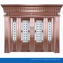Patrón de flor delicada de diseño moderno que cubre la puerta de cristal de cobre revestido de puertas