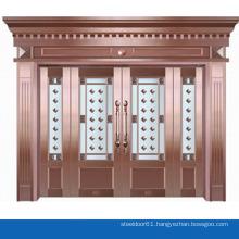 Modern design delicate flower pattern covering glass door copper clad doors