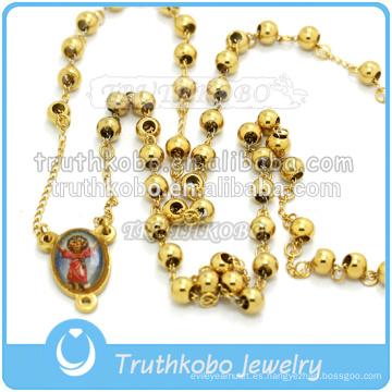 Collar de cruz religiosa con forma de abalorio de María bendecida de acero inoxidable de moda