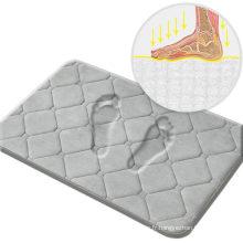 Tapis de bain en flanelle en mousse à mémoire de forme, tapis de salle de bain gris 20X32, absorbant rapidement, lavable en machine, antidérapant, facile à sécher, appliquer pour chambre à coucher, salle de bain, cuisine, salle de douche