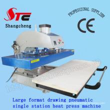 Großformatige automatische T-Shirt Heat Transfer Maschine 50 * 120cm pneumatische Zeichnung Hitze Presse Maschine Einzelstation T Shirt Druck Transfer Maschine Stc-Qd08