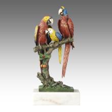 Animal Estatua Ave Loros Decoración Bronce Escultura Tpal-268