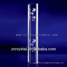 K9 3D Glod Glod pez grabado cristal con forma de pilar