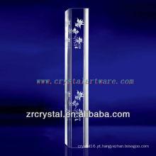 K9 3D Laser Glod peixe gravado cristal com forma de pilar