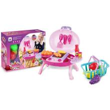 Оптовая образовательных барбекю DIY Пластиковые игрушки кухня играть комплект с корзиной и свет (10233065)