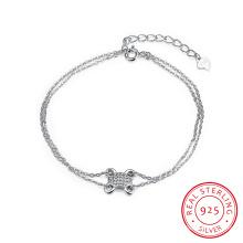 925 Sterling Steel Bracelet Mutil Row Chain Sterling Silver Bracelet Charm Jewelry