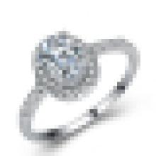 Anillo de bodas de compromiso de CZ blanca de zirconia cúbica para mujer