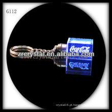 Chaveiro de cristal LED com imagem 3D gravado a laser dentro e em branco chaveiro de cristal G112