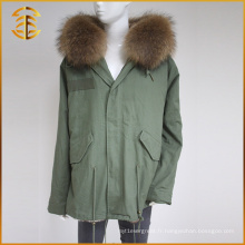 Vente en gros OEM Service Veste réelle Femmes Winter Brand Raccoon Fur Parka