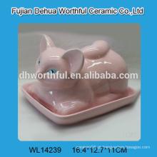 2016 nova chegada rosa prato de manteiga cerâmica em fox fox bonito