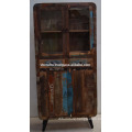 Recycled Old Wood Art Deco Cabinet Glass Panel
