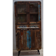 Recycled Old Holz Art Deco Schrank Glas Panel