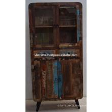 Painel De Vidro De Gabinete Art Deco De Madeira Velho Reciclado