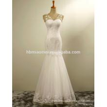 Prix usine dernières robes conceptions perles dentelle moderne sirène robe de mariée prix avec fleur exquise blanche