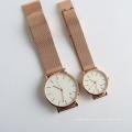 Relógio de pulso de quartzo japão de malha de aço inoxidável para aço inoxidável niquel
