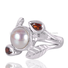 Garnet And Pearl Gemstone 925 Sterling Silver Artisan Jewelry Ring