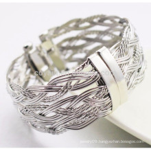 Fashion Design Stainless Steel Metal Twisted Wire Braided Bangles With Spring