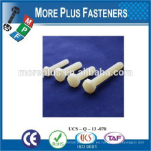 Hecho en Taiwán Proveedor de la calidad Hex Cabeza Blanco Color Nylon Tornillos Tornillo