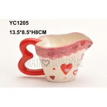 Handgemalter Kaffee-Herz-Form-Handgriff-Becher für Valentinstag