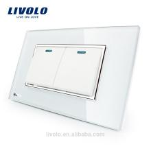 Fabricant Livolo Luxe Interrupteur à panneau en verre de cristal blanc Deux 2 Gangs deux Interrupteur mural à bouton-poussoir 2 voies VL-C3K2S-81
