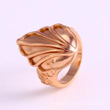 12225 Anillo de dedo chapado en oro en forma de hoja de la joyería de las señoras del diseño simple al por mayor