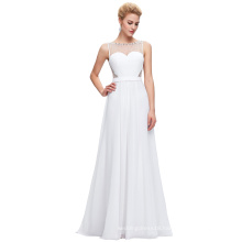 Starzz Sleeveless Chiffon Ball Gown White Simple Evening Dress Party Dress ST000064-2