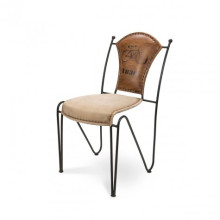 Iron Leather Canvas Chair