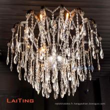 Éclairage de lustre de bougie d'église en cristal élégant décoratif français de mode pour la cuisine