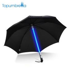 OEM Großhandel Stick Ultra Griff Schwarz LED Blinklicht Regenschirm