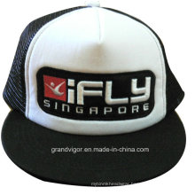 Flat Bill Snapback Trucker Cap with Custom Raised Embroidery Logo