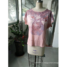 Summer Lovely Pink Casual Women′ T-Shirt Clothes