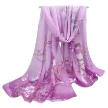 2017 New arrival fashion lightweight professional print magpie pattern women long chiffon scarf