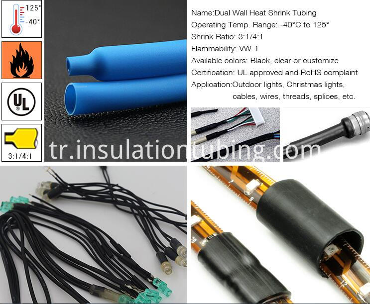 Dual wall heat shrink tubing for application