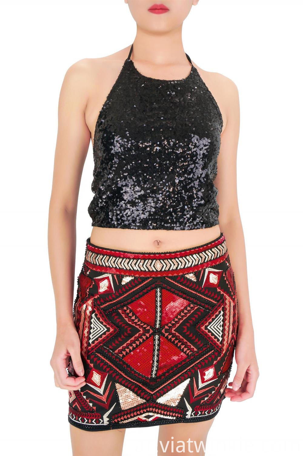 Embroidered Sequin Mini Sequin Skirts