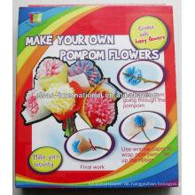 3D Pompom Blumen machen, Handwerk für Kinder