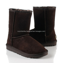 Chocolate Classic Cowhide Wool Flat Snow Boots