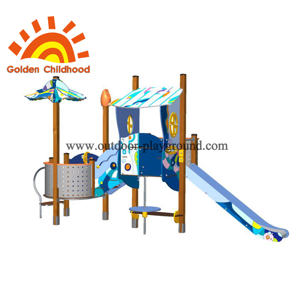 Slide With Playhouse Outdoor Playground Equipment For Sale