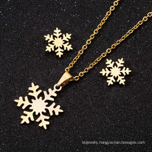Shangjie OEM collar Three-piece Christmas Gift Snowflake Stud Earring Necklace womens fashion necklaces