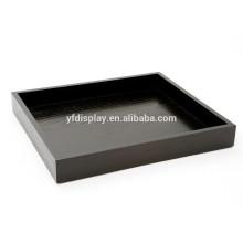 Rechteckiges dunkles Espresso Holz Tablett mit Micro Suede Liner