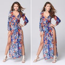 Sexy Casual Dress Long Sleeve Deep V Neck Two Split Printing Long Maxi Dress