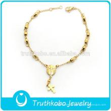 Accesorios de joyería religiosa Venta al por mayor de acero inoxidable Religioso rosario Beads Charms pulsera con la oración de la Madre Mary Charm