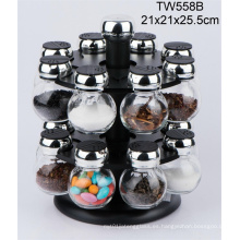 Botella de vidrio manual con molino de sal / trituradora de sal / trituradora de especias / trituradora de pimienta / molino de pimienta