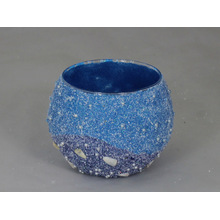 Ball-Shaped Sand Blast/Sand Covering Glass Votive Candle Holder