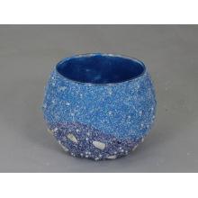 Ball-Shaped Areia Blast / Areia Coberta Vidro Votive Candle Holder