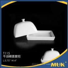 Diseño especial tapa de mantequilla de cerámica elegante real para el restaurante