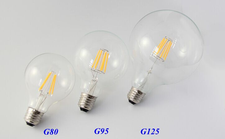 Edison Style LED Filament Large Round Bulbs.