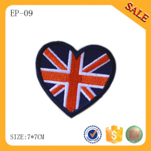 EP-09 Fashion heart shape hat embroidered label custom embroidered bag patch